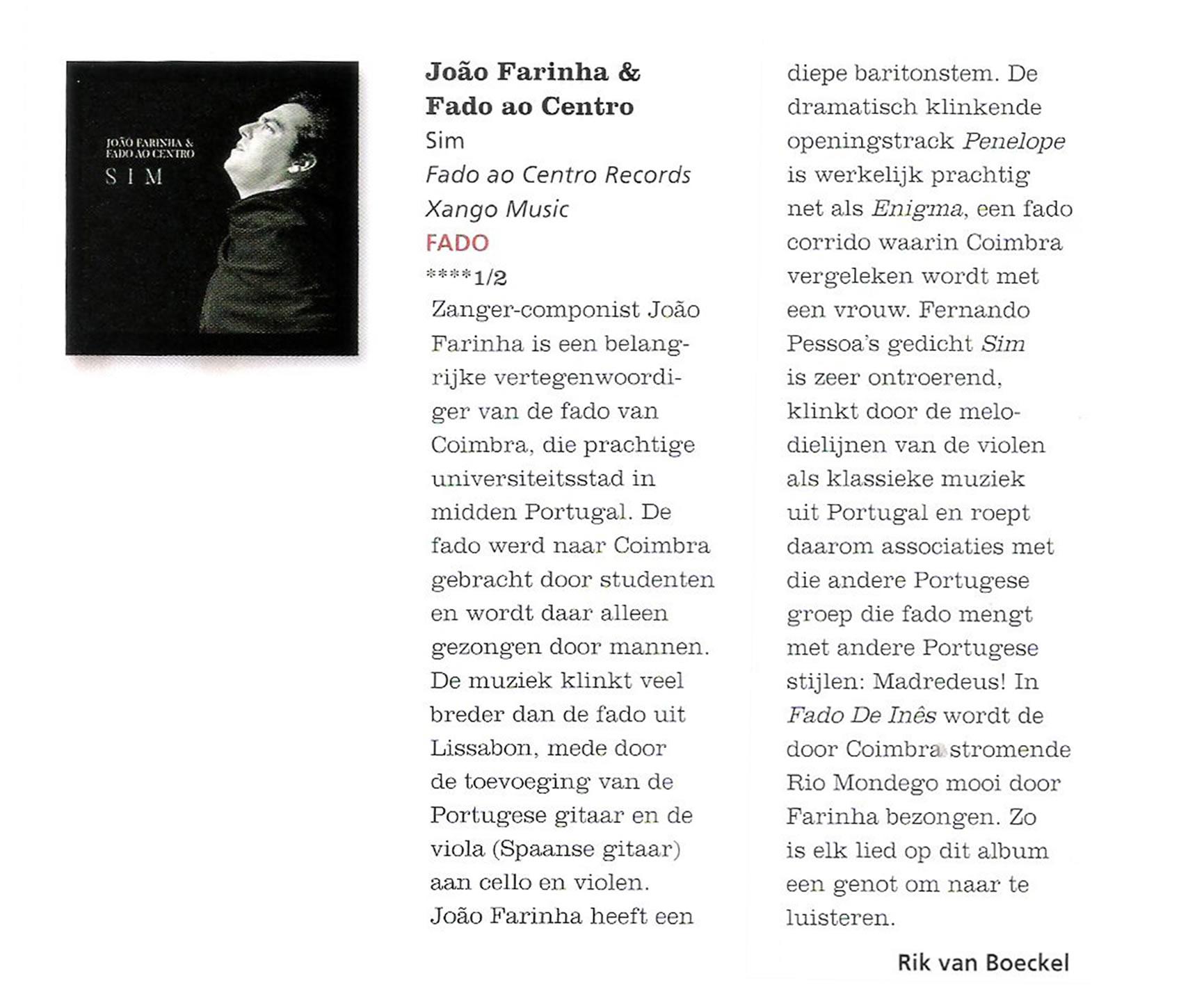 CD-recensie João Farinha & Fado Ao Centro